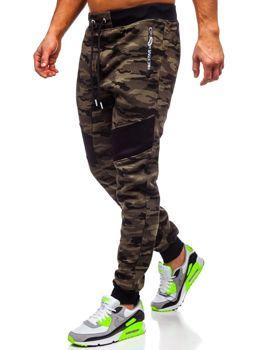 Spodnie męskie dresowe moro zielone Denley TC873