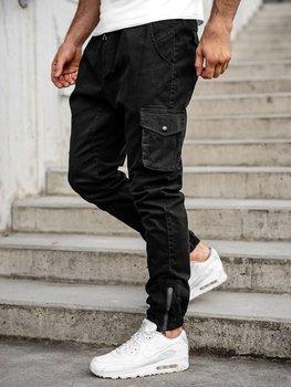 Spodnie męskie joggery bojówki czarne Bolf 0705