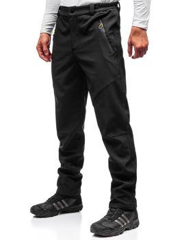 Spodnie męskie trekkingowe typu softshell czarno-żółte Denley 5454