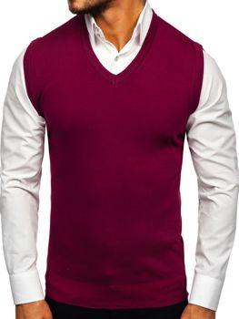 Sweter męski bez rękawów bordowy Denley H1939