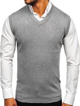 Sweter męski bez rękawów szary Denley W01