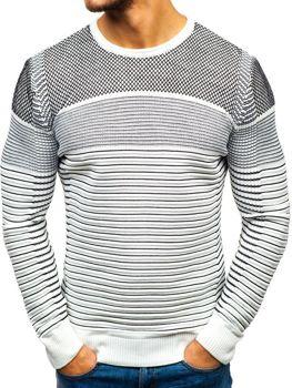 Sweter męski biało-czarny Denley 1015