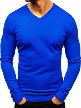 Sweter męski w serek chabrowy Denley 2200