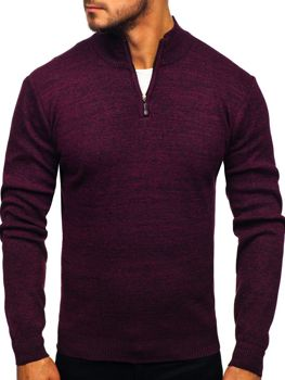 Sweter męski ze stójką bordowy Denley 8260