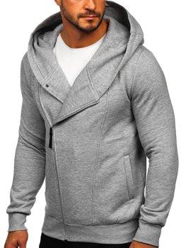 Szara bluza męska z kapturem rozpinana Denley 80680