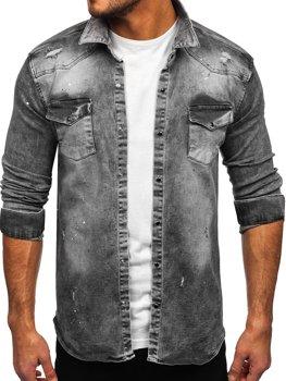 Szara koszula męska jeansowa z długim rękawem Denley R711