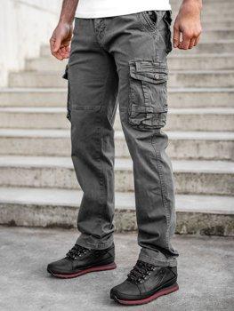 Szare spodnie bojówki męskie z paskiem Denley CT8903