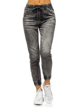 Szare spodnie jeansowe joggery damskie Denley SJ103-1