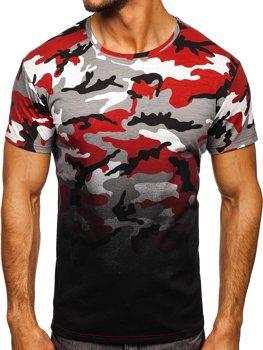 Szaro-bordowy t-shirt męski z nadrukiem moro Denley S808