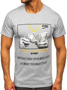 Szary T-shirt męski z nadrukiem Denley KS2538
