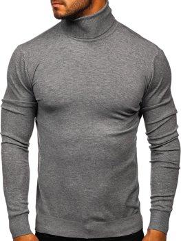 Szary golf sweter męski bez nadruku Denley YY02