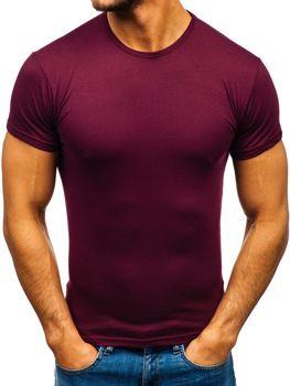 T-shirt męski bez nadruku bordowy Denley 0001