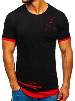 T-shirt męski bez nadruku czarno-czerwony Bolf 10999