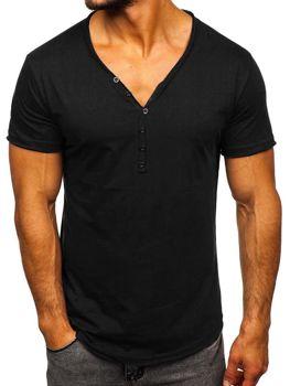 T-shirt męski bez nadruku czarny Denley 4049