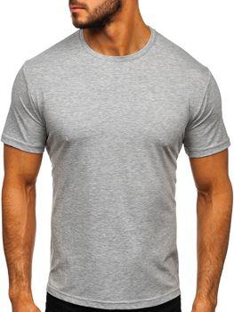 T-shirt męski bez nadruku szary Denley 192132