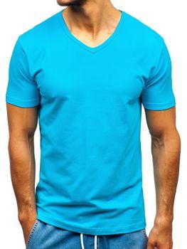T-shirt męski bez nadruku turkusowy Denley T1043