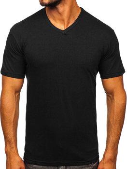 T-shirt męski bez nadruku w serek czarny Denley 192131