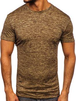 T-shirt męski trenignowy bez nadruku brązowy Denley S01