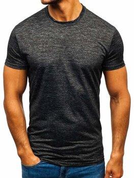 T-shirt męski treningowy bez nadruku grafitowy Denley S01
