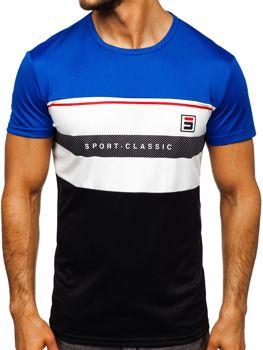 T-shirt męski treningowy z nadrukiem niebieski Denley SS10995