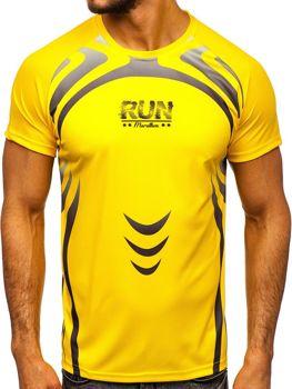 T-shirt męski treningowy z nadrukiem żółty Denley KS2062