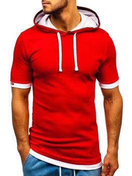 T-shirt męski z kapturem czerwony Bolf 08-1