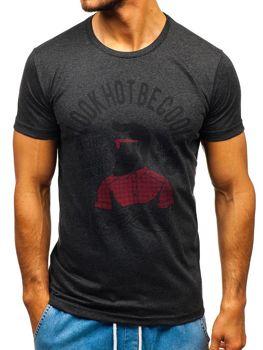 T-shirt męski z nadrukiem antracytowy Bolf 1025