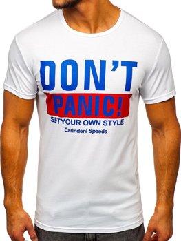 T-shirt męski z nadrukiem biały Denley 10858