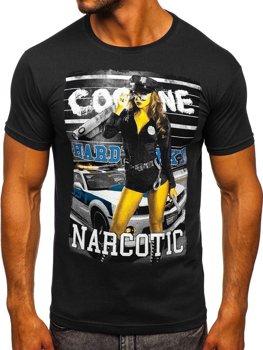T-shirt męski z nadrukiem czarny Denley 004