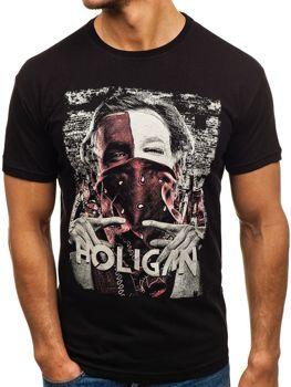 T-shirt męski z nadrukiem czarny Denley 006
