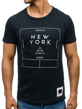 T-shirt męski z nadrukiem czarny Denley 1119
