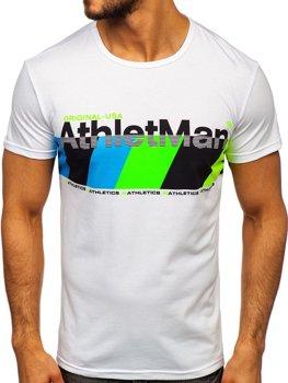 T-shirt męski z nadrukiem czarny Denley SS10905