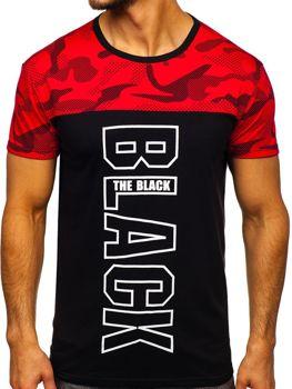 T-shirt męski z nadrukiem czerwony Denley 10859
