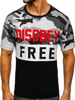 T-shirt męski z nadrukiem moro-czarny Denley 6308