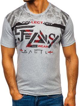 T-shirt męski z nadrukiem szary Denley 14226