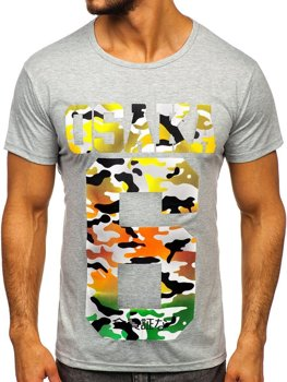 T-shirt męski z nadrukiem szary Denley KS1958