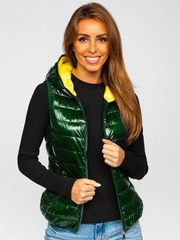 Zielona pikowana kamizelka damska z kapturem Denley R9549