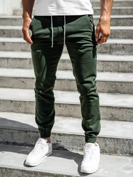 Zielone spodnie joggery męskie Denley CT8808