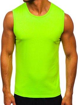 Zielony-neon koszulka tank top bez nadruku Denley 99001