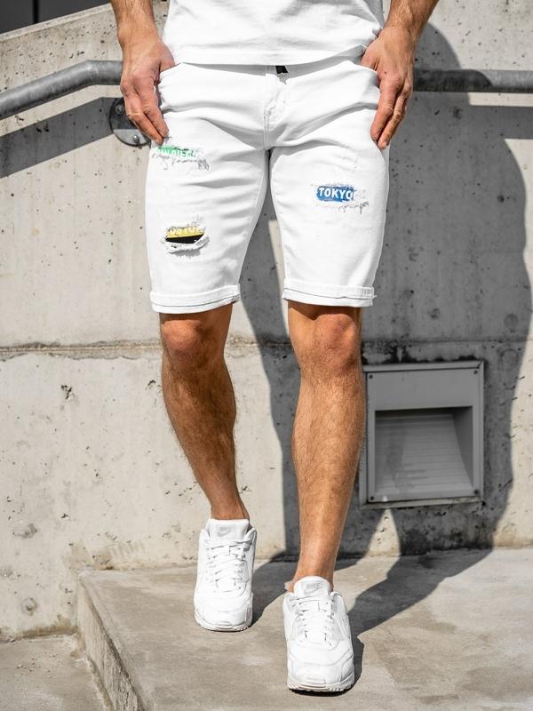 Białe jeansowe krótkie spodenki męskie Denley KG3808