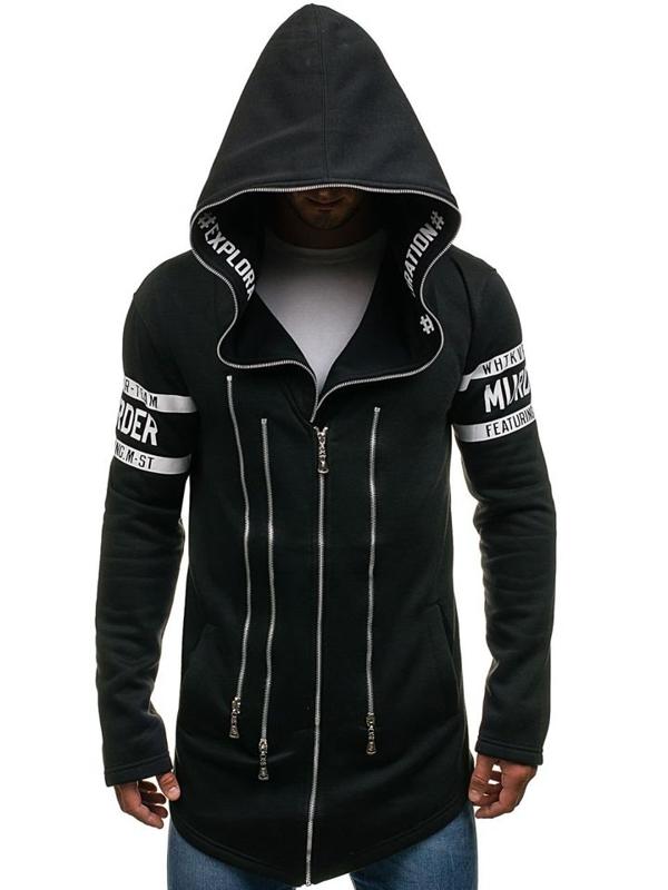 Bluza męska z kapturem z nadrukiem czarna Denley Y36-3