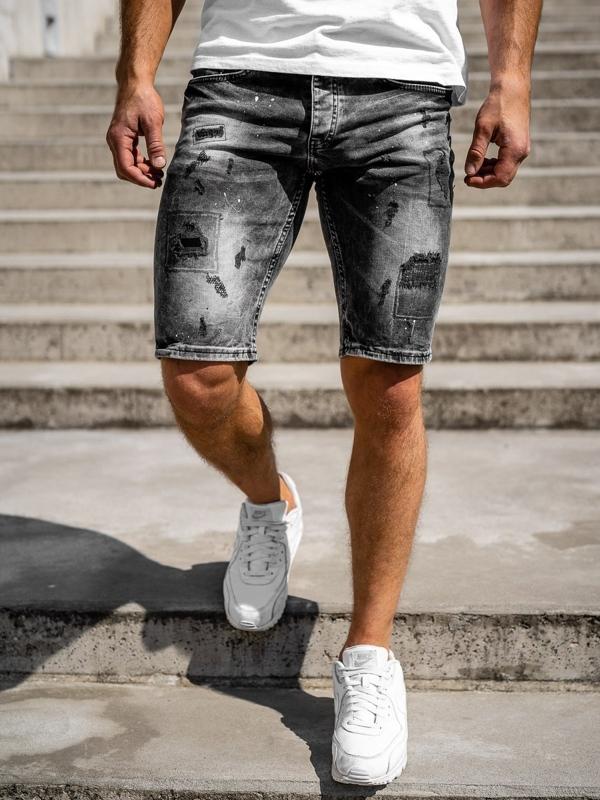 Czarne jeansowe krótkie spodenki męskie Denley 3013