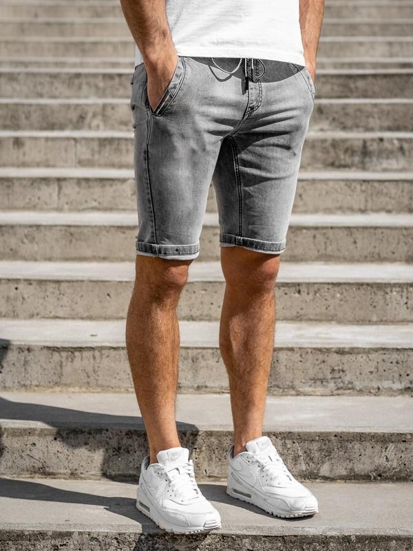 Czarne jeansowe krótkie spodenki męskie Denley KG3787