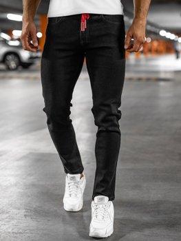 Czarne jeansowe spodnie męskie skinny fit Denley KX557
