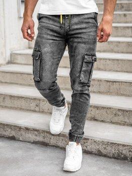Czarne spodnie jeansowe joggery bojówki męskie Denley HY687