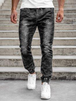 Czarne spodnie joggery moro męskie Denley RB9486DT