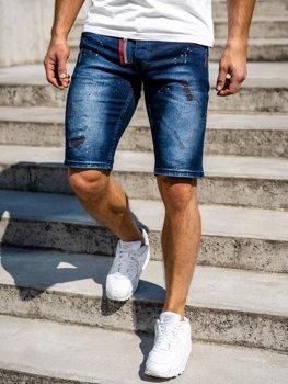 Granatowe jeansowe krótkie spodenki męskie Denley 3016