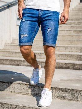 Granatowe jeansowe krótkie spodenki męskie Denley KG3606