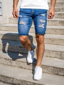 Granatowe jeansowe krótkie spodenki męskie Denley KG3757