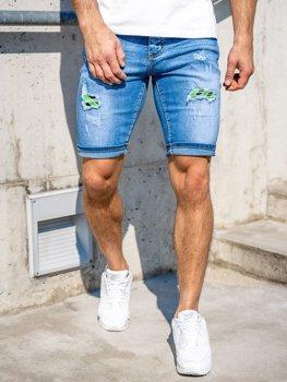 Granatowe jeansowe krótkie spodenki męskie Denley KG3810
